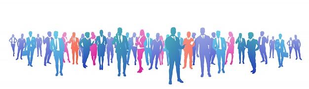 Kolorowy Sukces Sylwetki Ludzi Biznesu, Grupa Różnorodności Biznesmen I Bizneswoman Udanego Zespołu Koncepcji Banner Premium Wektorów