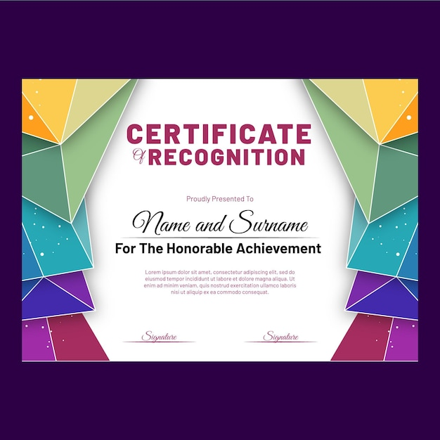 Kolorowy Szablon Certyfikatu Z Geometrycznymi Kształtami Darmowych Wektorów