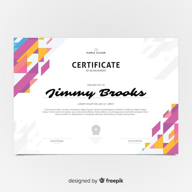 Kolorowy szablon certyfikatu z płaska konstrukcja Darmowych Wektorów