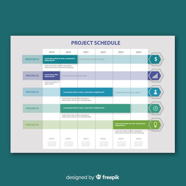 Kolorowy szablon harmonogramu projektu z płaska konstrukcja Darmowych Wektorów
