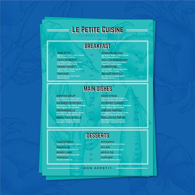 Kolorowy szablon menu restauracji Darmowych Wektorów