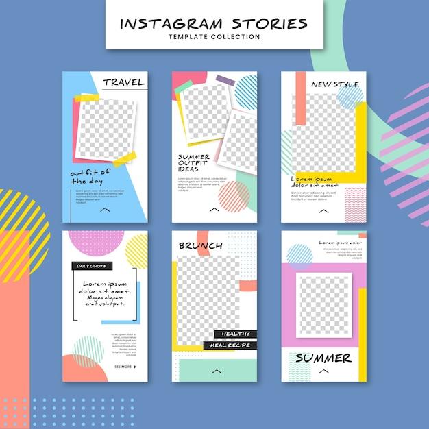 Kolorowy szablon opowiadań instagram Darmowych Wektorów