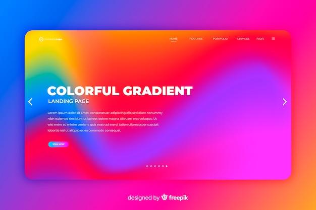 Kolorowy szablon strony docelowej gradientu Darmowych Wektorów