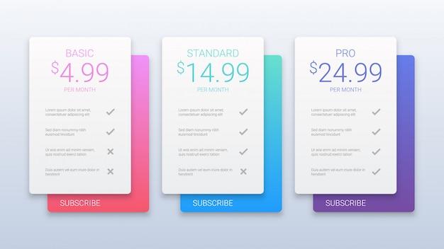Kolorowy szablon tabeli cen Premium Wektorów