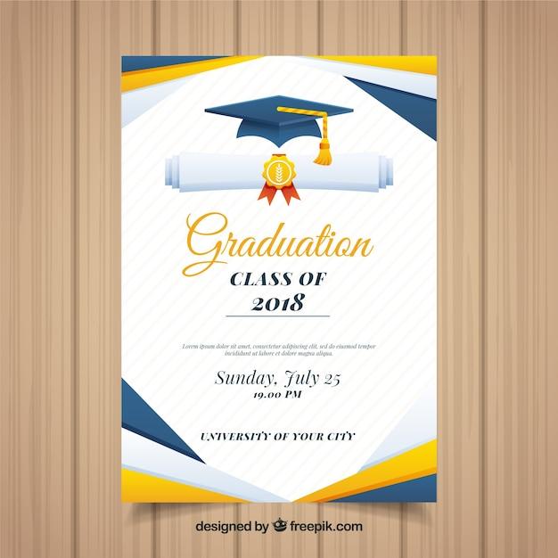 Kolorowy szablon zaproszenie ukończenia szkoły z płaska konstrukcja Darmowych Wektorów
