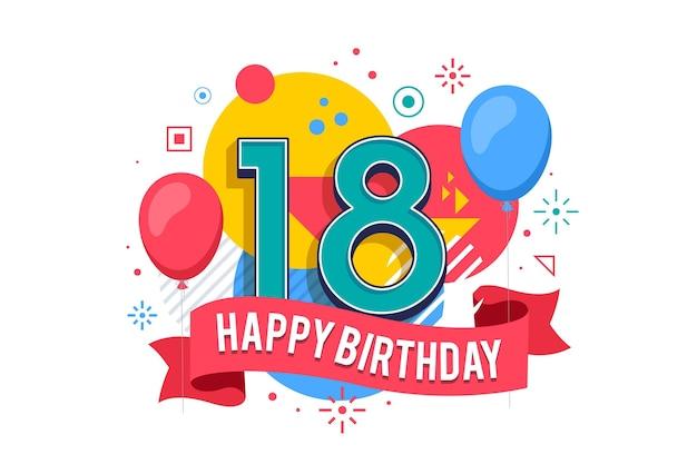 Kolorowy Szczęśliwy 18 Urodziny Tło Darmowych Wektorów