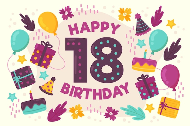 Kolorowy Szczęśliwy 18 Urodziny Tło Premium Wektorów