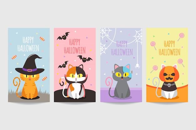 Kolorowy szczęśliwy halloween transparent z ładny kot sobie kostium Premium Wektorów