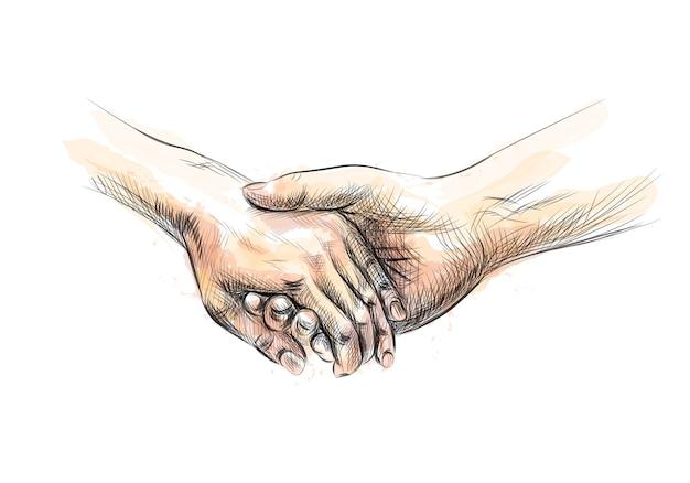 Kolorowy Szkic Dłoni Trzymając Się Za Ręce Z Odrobiną Akwareli. Ilustracja Farb Premium Wektorów