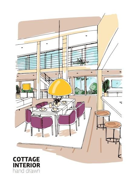 Kolorowy Szkic Wnętrza Domu Mieszkalnego Lub Domku Letniskowego Urządzonego W Nowoczesnym Stylu Skandynawskim. Premium Wektorów