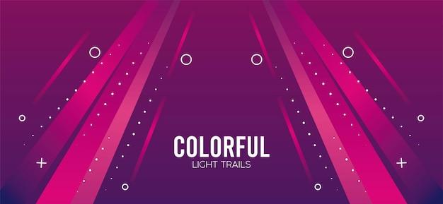 Kolorowy Szlak świetlny W Różowym Projekcie Ilustracji Premium Wektorów