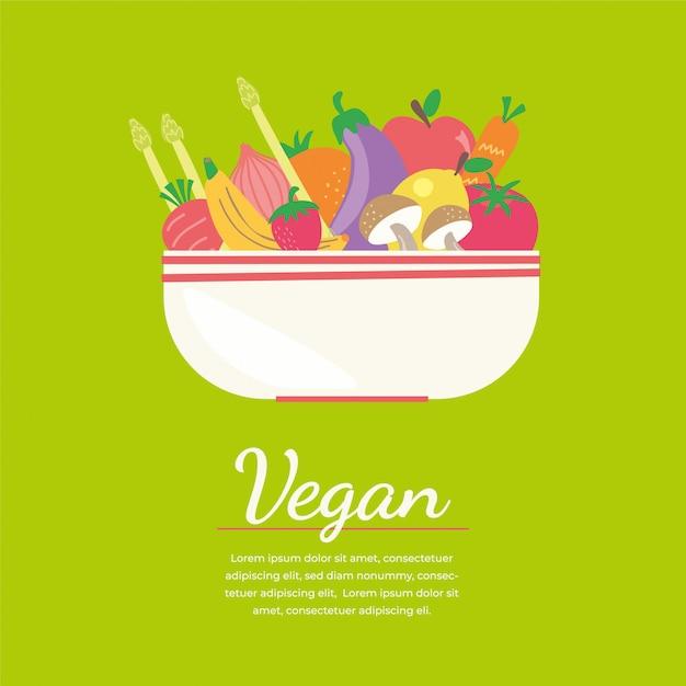 Kolorowy Sztandar Wegańskie Z Płaskim Warzyw Ikony Premium Wektorów