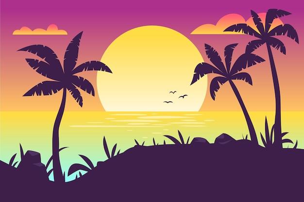 Kolorowy Tło Z Palmowym Sylwetki Pojęciem Darmowych Wektorów