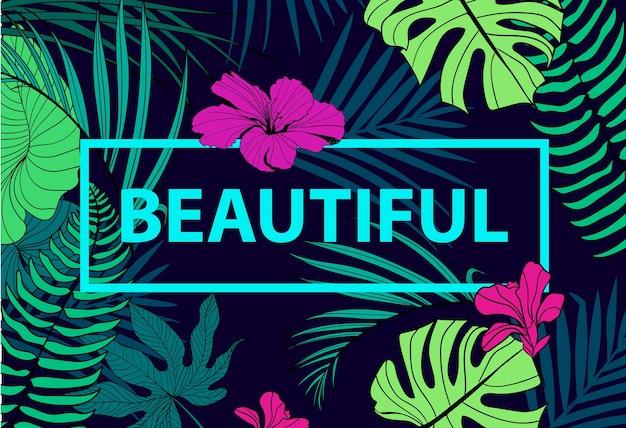 Kolorowy Tropikalny Cytat W Kwadratowej Ramce. Romantyczny Plakat, Baner, Okładka. Piękny Premium Wektorów