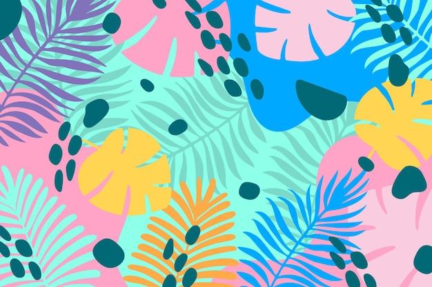 Kolorowy Tropikalny Tło Dla Zoomu Darmowych Wektorów