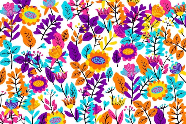 Kolorowy Tropikalny Tło Kwiatowy Darmowych Wektorów