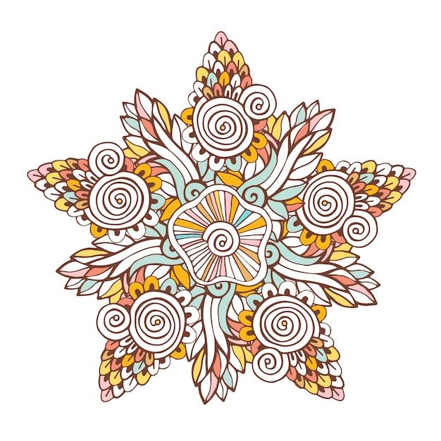Kolorowy Wektor Mandali. Ornament Do Kolorowania Stron Książki Lub Dekoracji Projektu Premium Wektorów