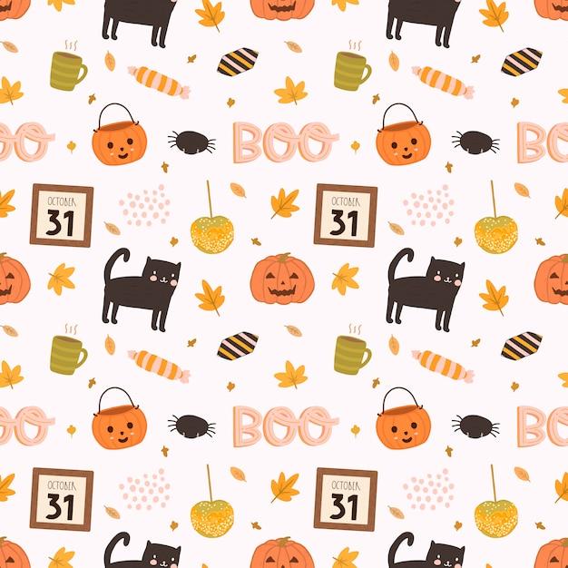 Kolorowy wektor wzór na halloween w stylu wyciągnąć rękę. Premium Wektorów