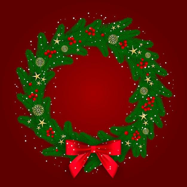 Kolorowy Wieniec Przygotowany Na Boże Narodzenie Darmowych Wektorów