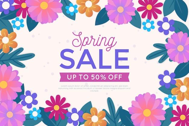 Kolorowy Wiosenny Sztandar Sprzedaż W Stylu Papieru Darmowych Wektorów