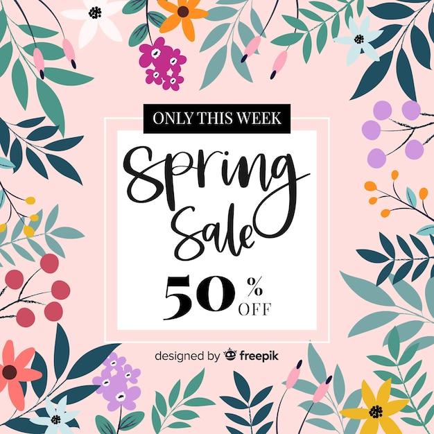 Kolorowy Wiosna Sprzedaży Tło Darmowych Wektorów