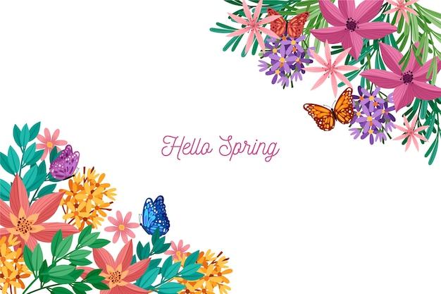 Kolorowy Wiosny Tło Z Powitaniem Darmowych Wektorów