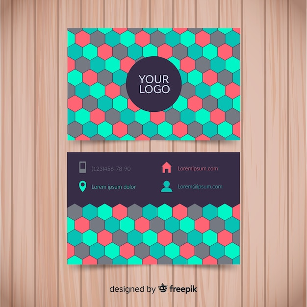 Kolorowy Wizytówka Szablon Z Płaskim Projektem Darmowych Wektorów
