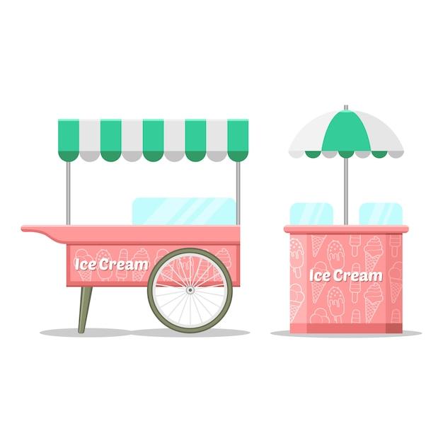 Kolorowy Wózek Z Lodami. Premium Wektorów