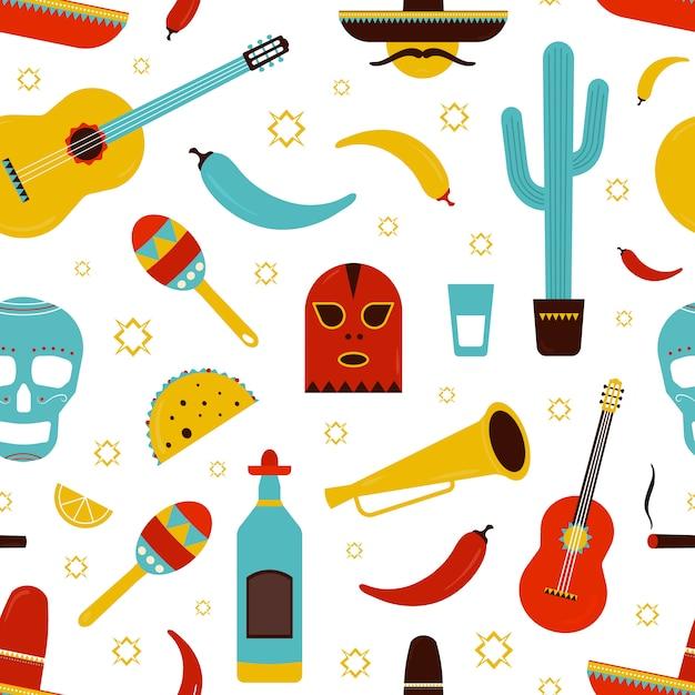 Kolorowy Wzór Meksyku Z Tradycyjnymi Meksykańskimi Atrybutami - Tequila, Papryka Chili, Sombrero, Gitara, Kaktus, Tacos, Marakasy, Cukru Czaszki. Ilustracja Kreskówka Premium Wektorów
