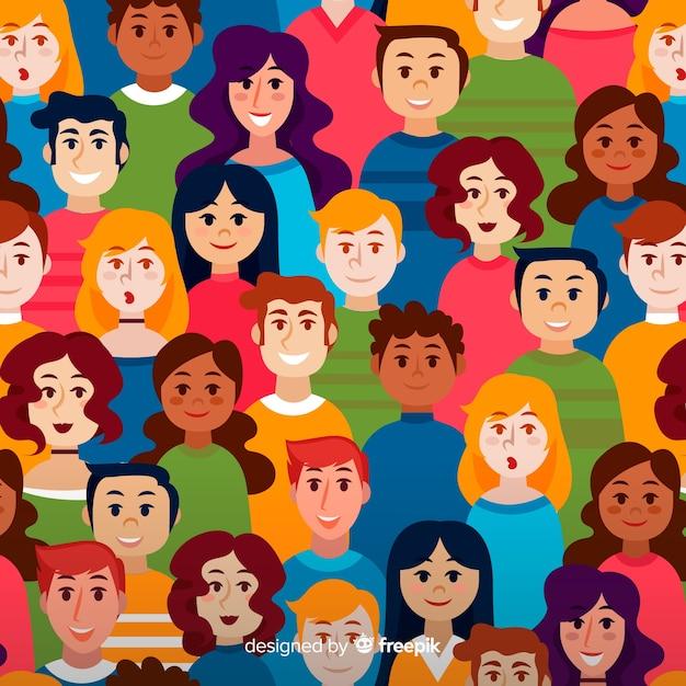 Kolorowy wzór młodych ludzi Darmowych Wektorów