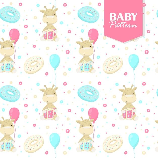 Kolorowy Wzór Z Baby żyrafy, Prezenty, Pączki, Balony Darmowych Wektorów
