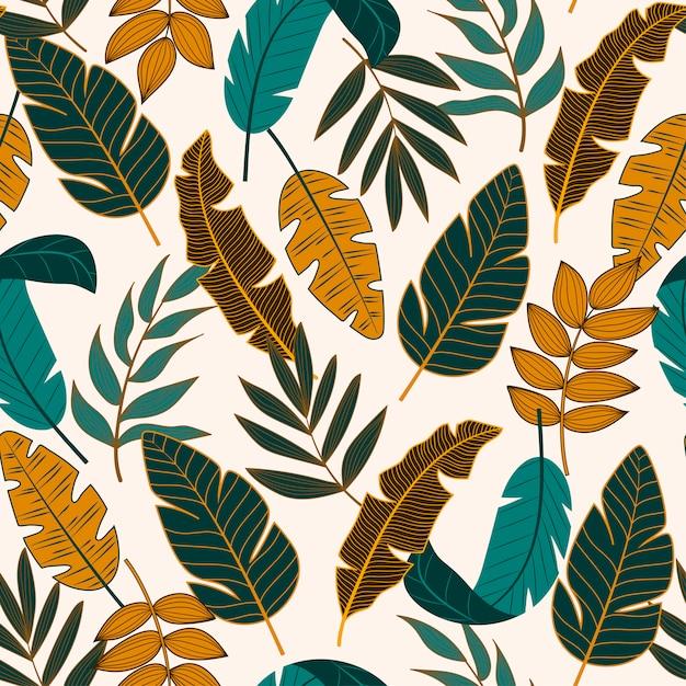 Kolorowy wzór z roślin tropikalnych Premium Wektorów
