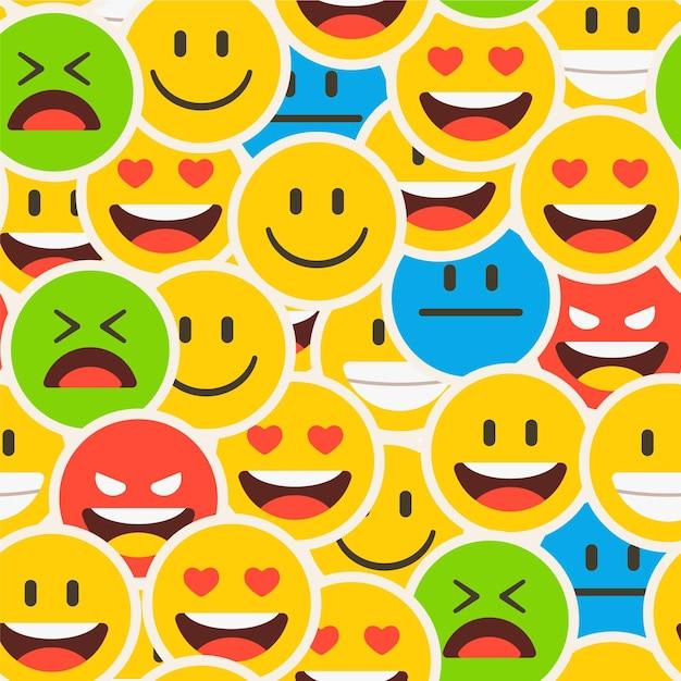 Kolorowy Zatłoczony Wzór Emotikonów Uśmiech Premium Wektorów
