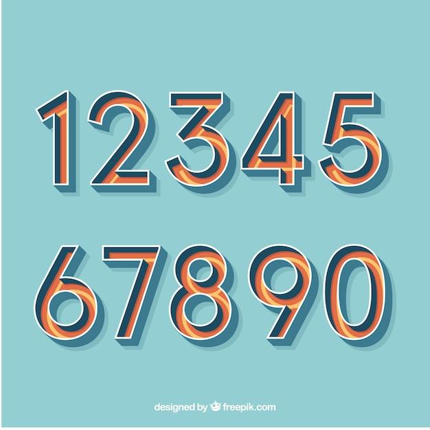 Kolorowy zbiór liczb z płaskiej konstrukcji Darmowych Wektorów
