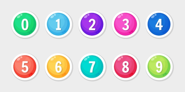 Kolorowy Zestaw Ikon Z Numerem Punktora Premium Wektorów