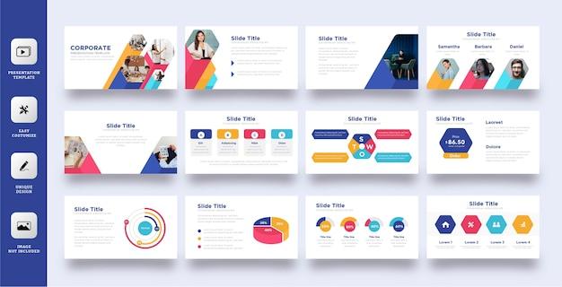 Kolorowy Zestaw Szablonów Prezentacji Biznesowych Pięciokątnych Premium Wektorów