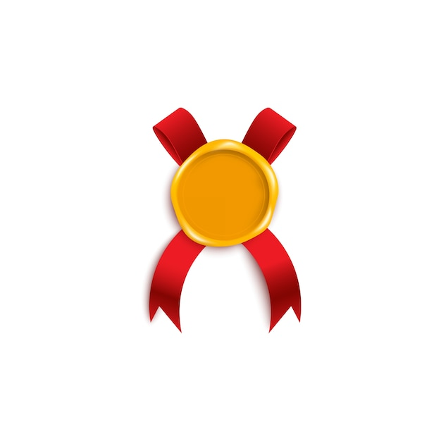 Kolorowy Złoty żółty Stempel Woskowy Z Czerwoną Wstążką Pod Spodem. Realistyczny List Vintage Lub Element Dekoracji Certyfikatu Jakości, Ilustracja Premium Wektorów