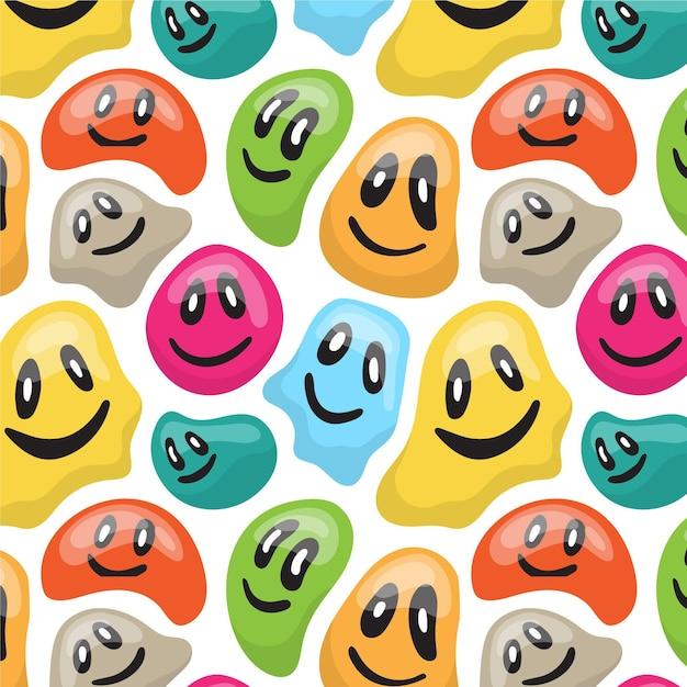 Kolorowy Zniekształcony Wzór Emotikonów Darmowych Wektorów