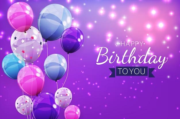 Koloru Balonu Tła Urodzinowa Błyszcząca Ilustracja Premium Wektorów