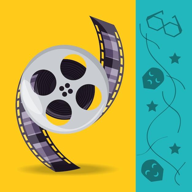 Kołowrotek Z Taśmami Filmowymi Do Produkcji Kinematograficznej Premium Wektorów