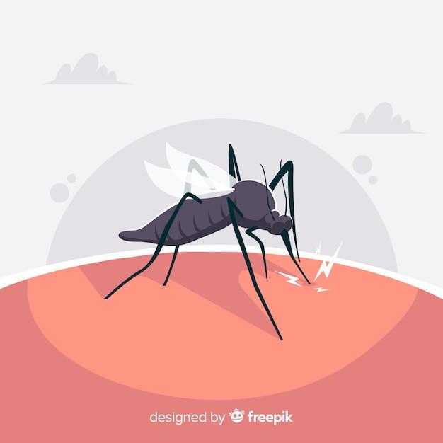 Komar gryzący człowieka o płaskiej konstrukcji Darmowych Wektorów