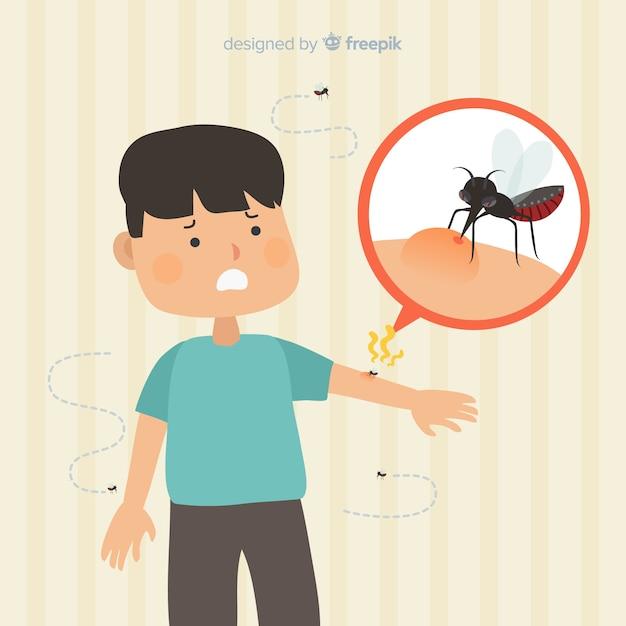 Komar gryzący osobę o płaskiej konstrukcji Darmowych Wektorów