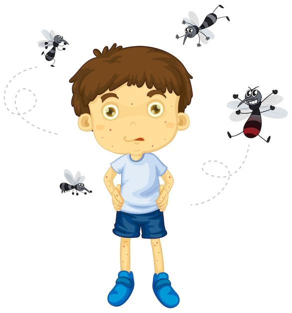 Komary Gryzą Postać Małego Chłopca Darmowych Wektorów