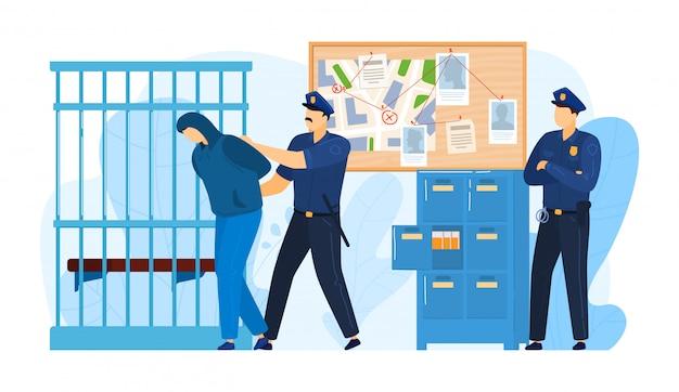 Komendy Policji Miejsce, Areszt Kryminalny Policjant Pracy Milicjami, Przestępcy Mężczyzna Stawia Więzienie Odizolowywającego Na Bielu, Kreskówki Ilustracja. Premium Wektorów