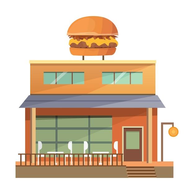 Komercyjna Restauracja Budynku Ilustracji - Burger House. Premium Wektorów