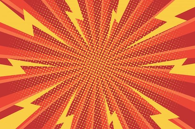 Komiczne Dynamiczne Zielone Tło Z Promieniowymi Wiązkami I Kropkowanymi Efektami Humoru Darmowych Wektorów