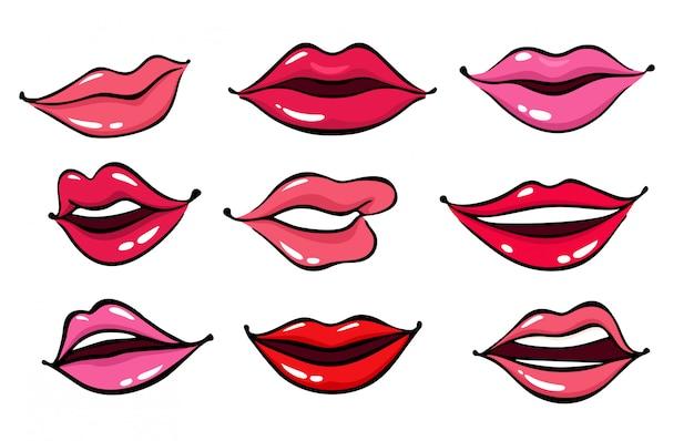 Komiczne kobiece usta Premium Wektorów
