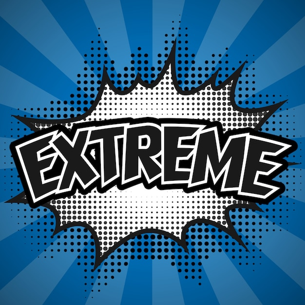 Komiczny Mowa Bąbel, Błękitny Ekstremum, Ilustracja Premium Wektorów
