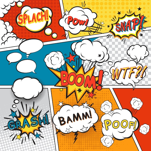 Komiks dymki w stylu pop-art z splach powl przystawki boom poof tekst wektor zestaw ilustracji Darmowych Wektorów