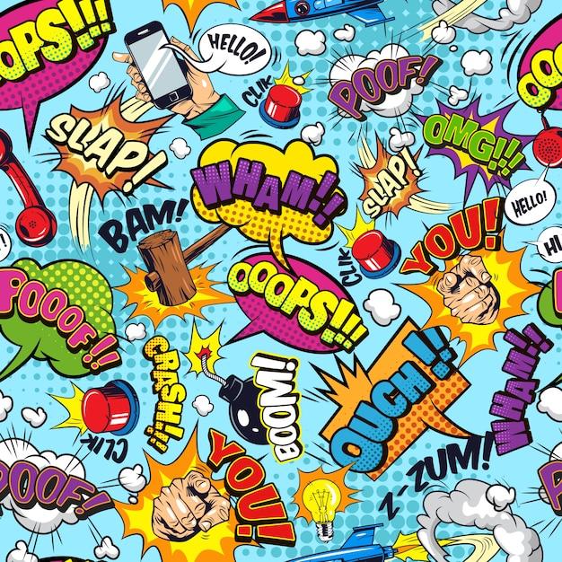 Komiks Elementy Kolorowy Wzór Darmowych Wektorów